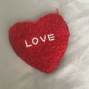 Beaded Red Heart Coin Purse